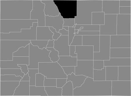 Black highlighted location map of the US Larimer county inside gray map of the Federal State of Colorado, USA Illustration