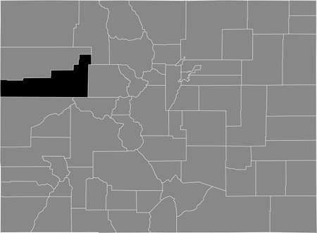 Black highlighted location map of the US Garfield county inside gray map of the Federal State of Colorado, USA