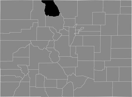 Black highlighted location map of the US Jackson county inside gray map of the Federal State of Colorado, USA Illustration