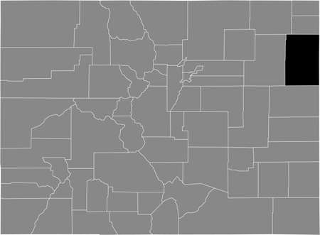 Black highlighted location map of the US Yuma county inside gray map of the Federal State of Colorado, USA
