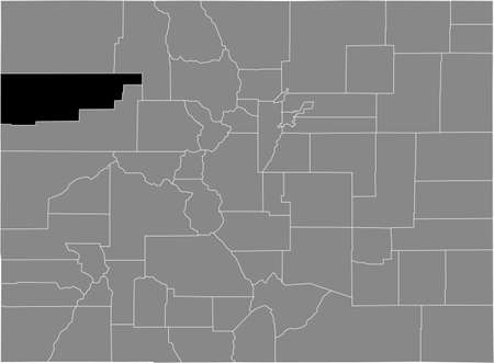 Black highlighted location map of the US Rio Blanco county inside gray map of the Federal State of Colorado, USA