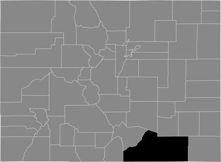 Black highlighted location map of the US Las Animas county inside gray map of the Federal State of Colorado, USA