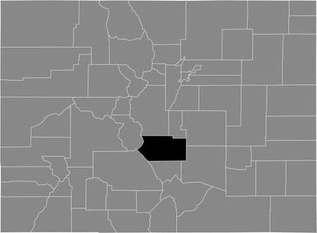 Black highlighted location map of the US Fremont county inside gray map of the Federal State of Colorado, USA