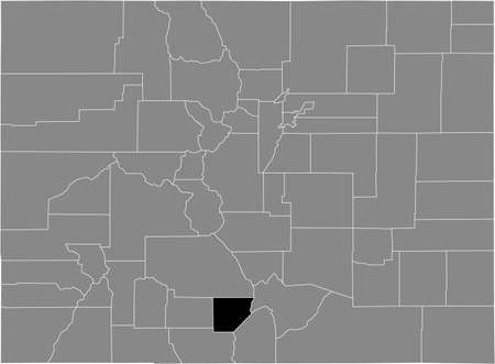 Black highlighted location map of the US Alamosa county inside gray map of the Federal State of Colorado, USA