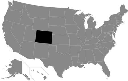 Black highlighted location map of the US Federal State of Colorado inside gray map of the United States of America Illustration