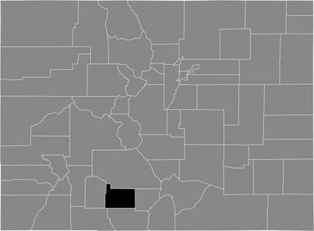 Black highlighted location map of the US Rio Grande county inside gray map of the Federal State of Colorado, USA