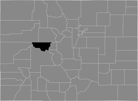 Black highlighted location map of the US Pitkin county inside gray map of the Federal State of Colorado, USA Illustration