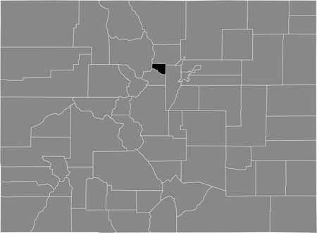 Black highlighted location map of the US Gilpin county inside gray map of the Federal State of Colorado, USA