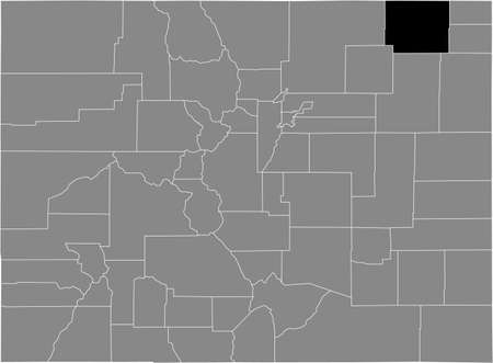 Black highlighted location map of the US Logan county inside gray map of the Federal State of Colorado, USA Illustration
