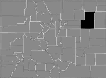 Black highlighted location map of the US Washington county inside gray map of the Federal State of Colorado, USA Illustration