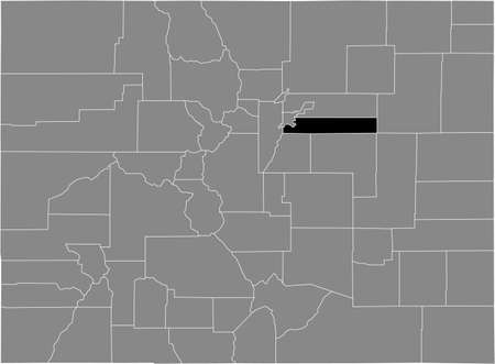 Black highlighted location map of the US Arapahoe county inside gray map of the Federal State of Colorado, USA