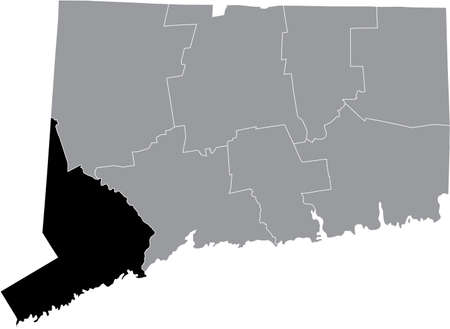 Black highlighted location map of the US Fairfield county inside gray map of the Federal State of Connecticut, USA