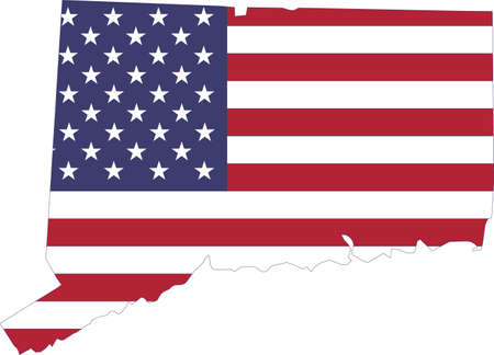 Simple flat US flag map of the Federal State of Connecticut, USA Illustration