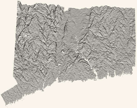 Light topographic map of the Federal State of Connecticut, USA with black contour lines on beige background