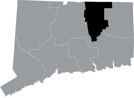 Black highlighted location map of the US Tolland county inside gray map of the Federal State of Connecticut, USA