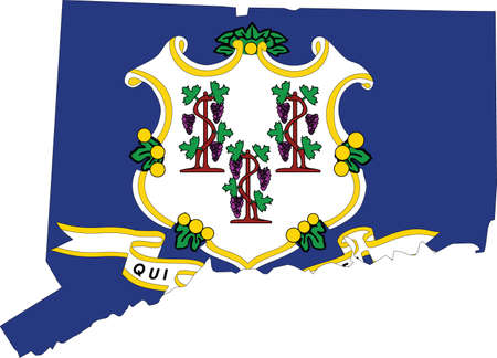 Simple flat flag map of the Federal State of Connecticut, USA