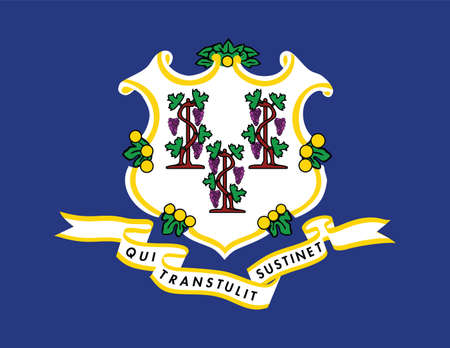 Official current vector flag of the Federal State of Connecticut, USA