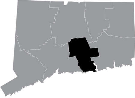 Black highlighted location map of the US Middlesex county inside gray map of the Federal State of Connecticut, USA