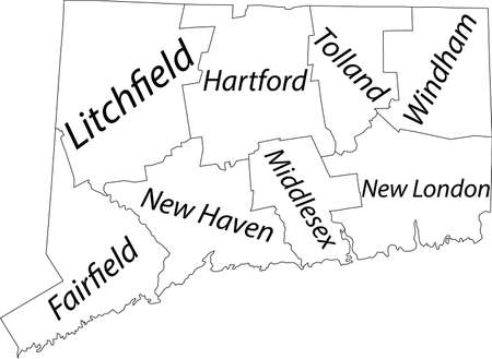White vector map of the Federal State of Connecticut, USA with black borders and names of its counties Illustration