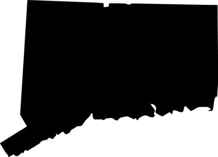 Simple black vector map of the Federal State of Connecticut, USA