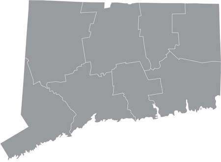 Gray vector map of the Federal State of Connecticut, USA with white borders of its counties