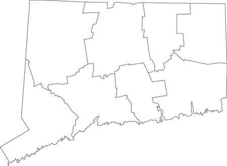 White blank vector map of the Federal State of Connecticut, USA with black borders of its counties
