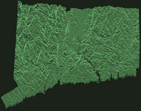 Topographic military radar tactical map of the Federal State of Connecticut, USA with emerald green contour lines on dark green background