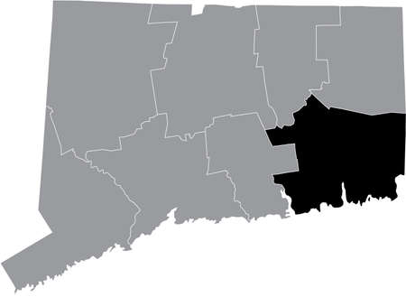 Black highlighted location map of the US New London county inside gray map of the Federal State of Connecticut, USA
