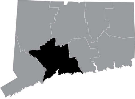 Black highlighted location map of the US New Haven county inside gray map of the Federal State of Connecticut, USA
