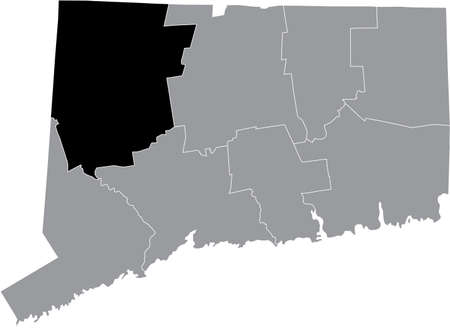 Black highlighted location map of the US Litchfield county inside gray map of the Federal State of Connecticut, USA