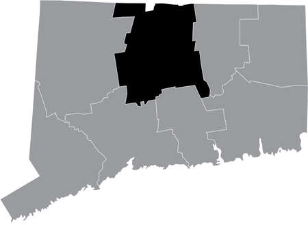 Black highlighted location map of the US Hartford county inside gray map of the Federal State of Connecticut, USA Illustration