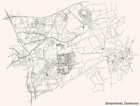 Black simple detailed street roads map on vintage beige background of the quarter Stadtbezirk Scharnhorst district of Dortmund, Germany Illustration