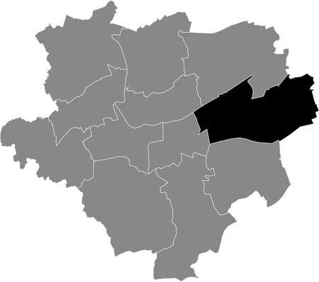 Black location map of the Dortmunder Stadtbezirk Brackel district inside the German regional capital city of Dortmund, Germany Illustration