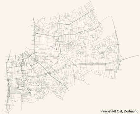 Black simple detailed street roads map on vintage beige background of the quarter Stadtbezirk Innenstadt-Ost district of Dortmund, Germany
