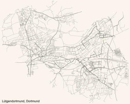 Black simple detailed street roads map on vintage beige background of the quarter Stadtbezirk Lütgendortmund district of Dortmund, Germany
