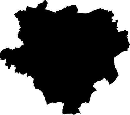 Simple vector black administrative map of the German regional capital city of Dortmund, Germany Illustration