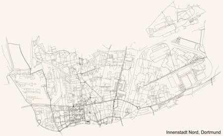 Black simple detailed street roads map on vintage beige background of the quarter Stadtbezirk Innenstadt-Nord district of Dortmund, Germany Illustration