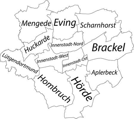 Simple white vector map with black borders and names of districts of Dortmund, Germany