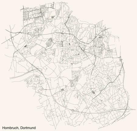 Black simple detailed street roads map on vintage beige background of the quarter Stadtbezirk Hombruch district of Dortmund, Germany Illustration