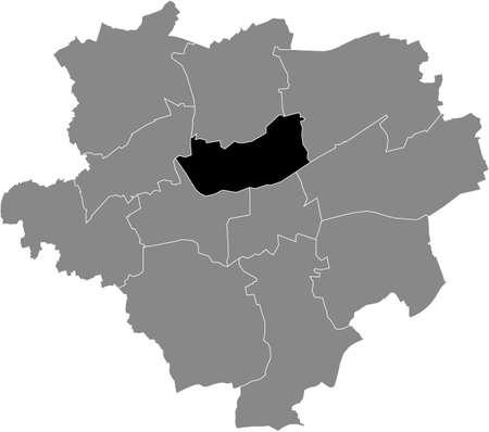 Black location map of the Dortmunder Stadtbezirk Innenstadt-Nord  district inside the German regional capital city of Dortmund, Germany Illustration