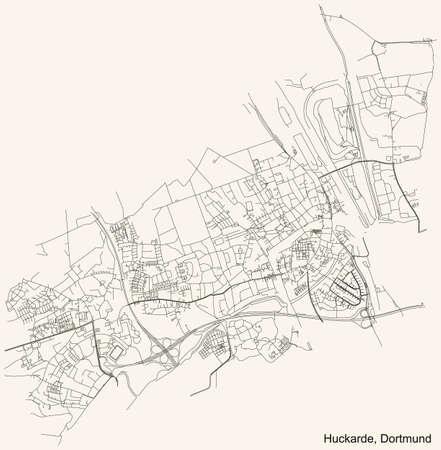 Black simple detailed street roads map on vintage beige background of the quarter Stadtbezirk Huckarde district of Dortmund, Germany