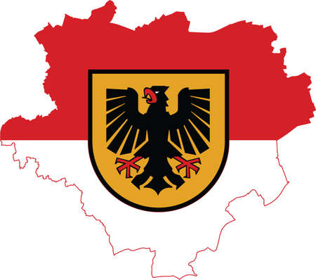 Simple vector administrative flag map of the German regional capital city of Dortmund, Germany