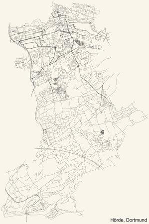 Black simple detailed street roads map on vintage beige background of the quarter Stadtbezirk Hörde district of Dortmund, Germany