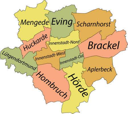 Simple pastel vector map with black borders and names of districts of Dortmund, Germany Illustration