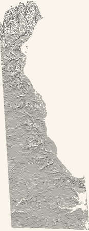 Light topographic map of the Federal State of Delaware, USA with black contour lines on beige background Illustration
