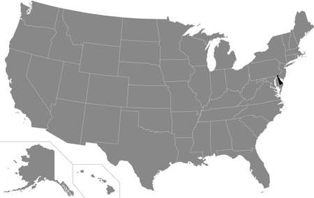 Black highlighted location map of the US Federal State of Delaware inside gray map of the United States of America