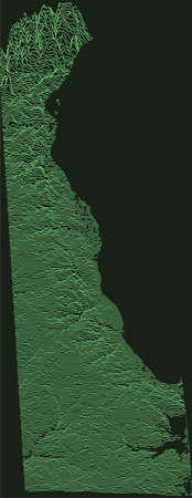 Topographic military radar tactical map of the Federal State of Delaware, USA with emerald green contour lines on dark green background