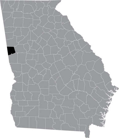 Black highlighted location map of the US Heard county inside gray map of the Federal State of Georgia, USA