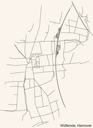 Black simple detailed street roads map on vintage beige background of the quarter Wülferode borough district of Hanover, Germany