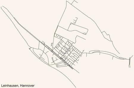 Black simple detailed street roads map on vintage beige background of the quarter Leinhausen borough district of Hanover, Germany Vektoros illusztráció